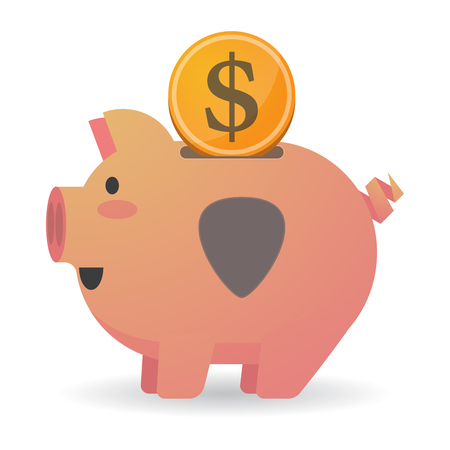 Illustration of an isolated piggy bank icon with a plectrum