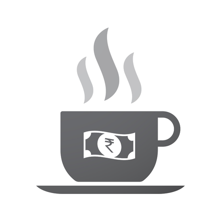 bank note: Illustration of an isolated coffee cup icon with  a rupee bank note icon
