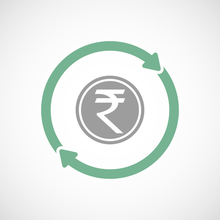cash cycle: Illustration of an isolated  line art reuse icon with  a rupee coin icon