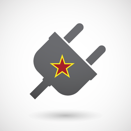 communism: Illustration of an isolated  male plug icon with  the red star of communism icon
