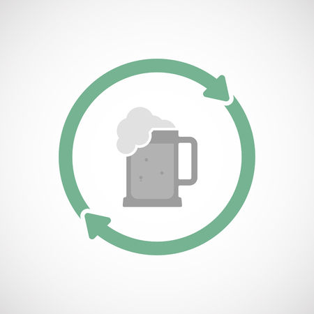 jarra de cerveza: Illustration of an isolated  line art reuse icon with  a beer jar icon Vectores
