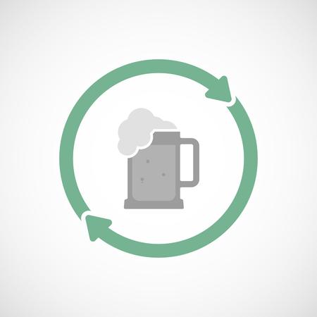 tarro cerveza: Ilustración de un icono de la línea de arte reutilización aislado con un icono de jarra de cerveza