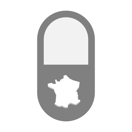 painkiller: Illustration of an isolated  pill icon with  the map of France Illustration