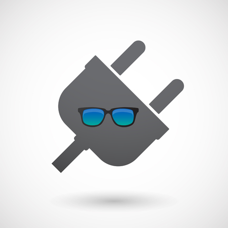Illustration of an isolated  male plug icon with  a sunglasses icon