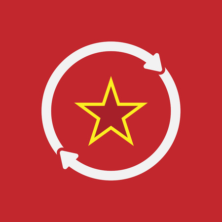 Illustration of an isolated  line art reuse icon with  the red star of communism icon Illustration