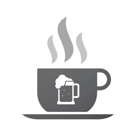 jarra de cerveza: Illustration of an isolated coffee cup icon with  a beer jar icon