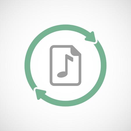 partition musique: Illustration d'un art de ligne réutilisation icône isolé avec une icône de partition Illustration