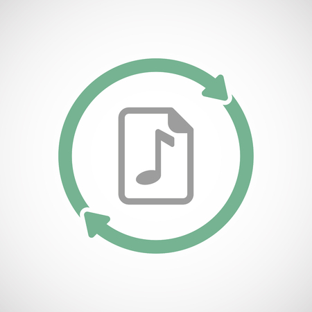 music score: Illustration of an isolated  line art reuse icon with  a music score icon Illustration