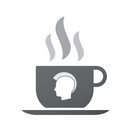 punk hair: Illustration of an isolated coffee cup icon with  a male punk head silhouette