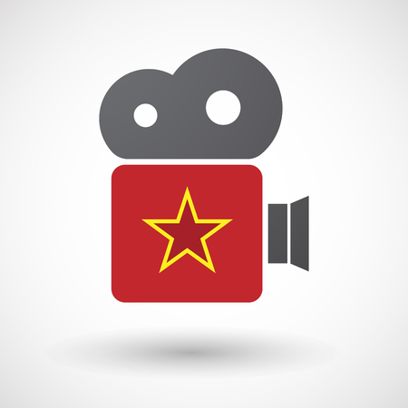 communism: Illustration of an isolated retro cinema camera icon with  the red star of communism icon Illustration
