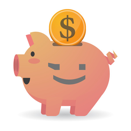 wink: Illustration of an isolated   piggy bank icin with  a wink text face emoticon