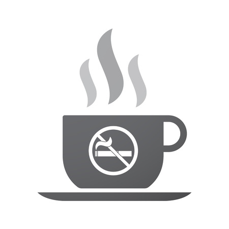 abstain: Illustration of an isolated coffee cup icon with  a no smoking sign Illustration