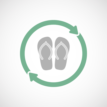 Illustration of an isolated  line art reuse icon with   a pair of flops Illustration