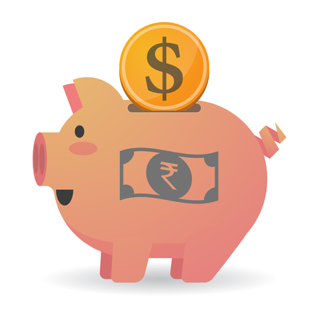 bank note: Illustration of an isolated   piggy bank icin with  a rupee bank note icon Illustration