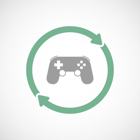 game pad: Illustration of an isolated  line art reuse icon with  a game pad