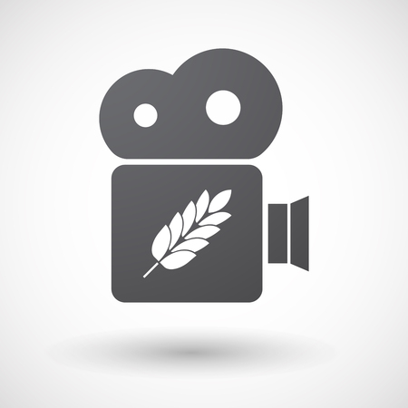 celiac: Illustration of an isolated retro cinema camera icon with  a wheat plant icon