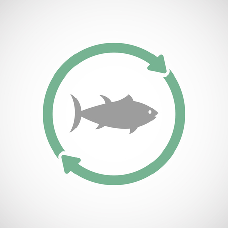 tuna fish: Illustration of an isolated  line art reuse icon with  a tuna fish