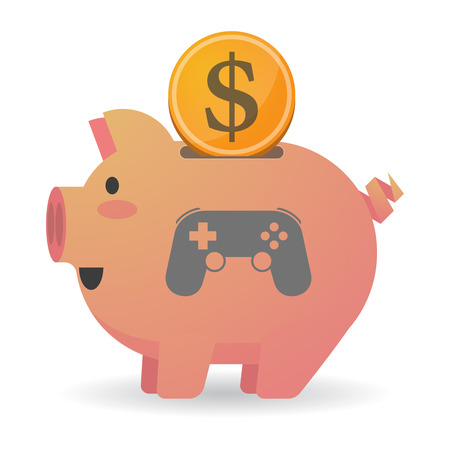 game pad: Illustration of an isolated   piggy bank icin with  a game pad