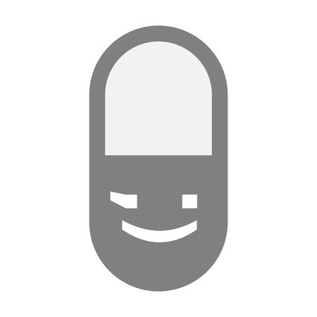 wink: Illustration of an isolated  pill icon with  a wink text face emoticon