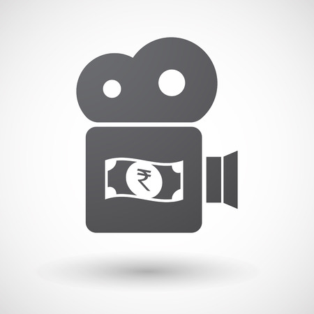 bank note: Illustration of an isolated retro cinema camera icon with  a rupee bank note icon