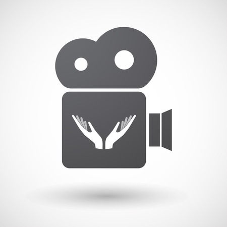 Illustration of an isolated retro cinema camera icon with  two hands offering