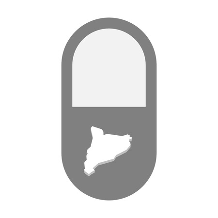 painkiller: Illustration of an isolated  pill icon with  the map of Catalonia