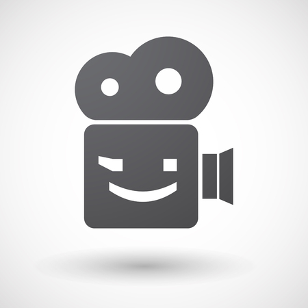 wink: Illustration of an isolated retro cinema camera icon with  a wink text face emoticon