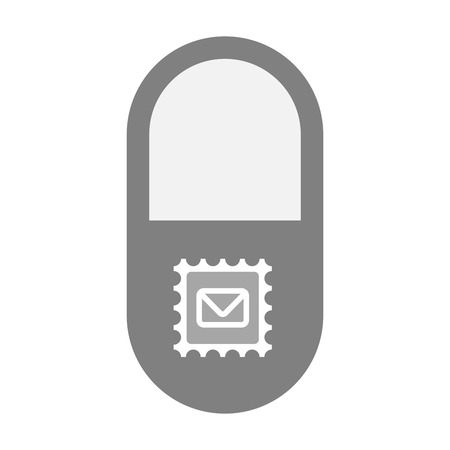 painkiller: Illustration of an isolated  pill icon with  a mail stamp sign