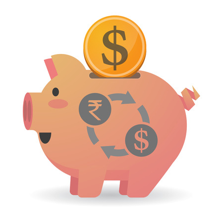 cash cycle: Illustration of an isolated   piggy bank icin with  a rupee and dollar exchange sign