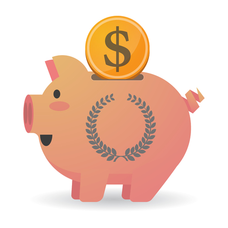 Illustration of an isolated   piggy bank icin with  a laurel crown sign