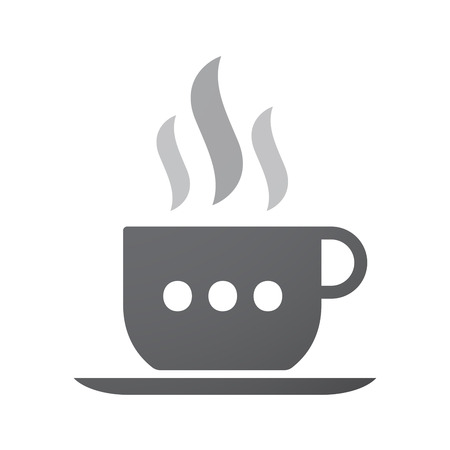 orthographic: Illustration of an isolated coffee cup icon with  an ellipsis orthographic sign