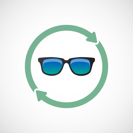 Illustration of an isolated  line art reuse icon with  a sunglasses icon