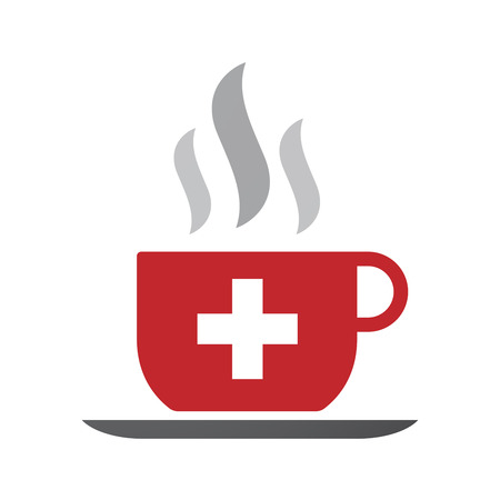 swiss flag: Illustration of an isolated coffee cup icon with   the Swiss flag