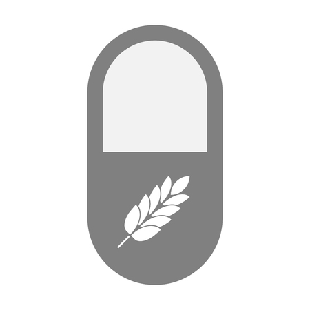 intolerance: Illustration of an isolated  pill icon with  a wheat plant icon Illustration
