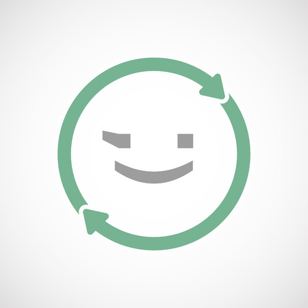 wink: Illustration of an isolated  line art reuse icon with  a wink text face emoticon