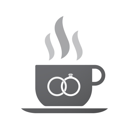 bonded: Illustration of an isolated coffee cup icon with  two bonded wedding rings Illustration