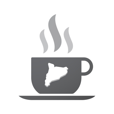 catalonia: Illustration of an isolated coffee cup icon with  the map of Catalonia