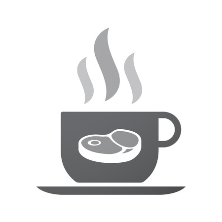 Illustration of an isolated coffee cup icon with  a steak icon
