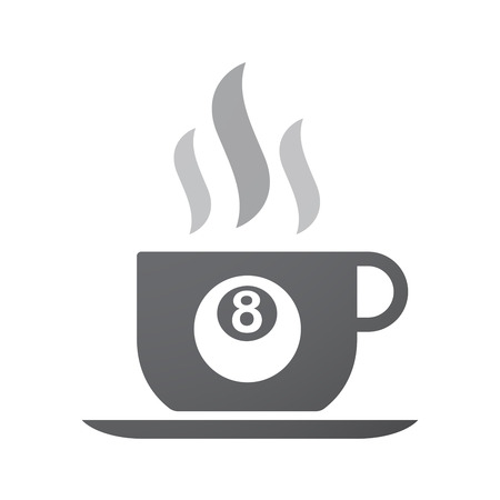 pool ball: Illustration of an isolated coffee cup icon with  a pool ball