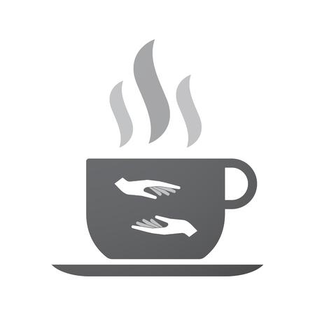 give and take: Illustration of an isolated coffee cup icon with  two hands giving and receiving  or protecting