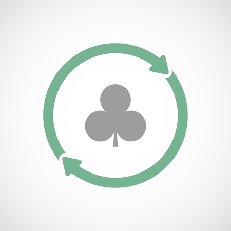 Illustration of an isolated  line art reuse icon with  the  Club  poker playing card sign