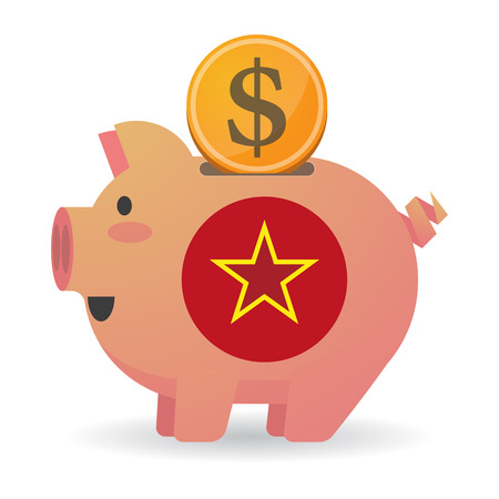 Illustration of an isolated   piggy bank  with  the red star of communism icon Illustration