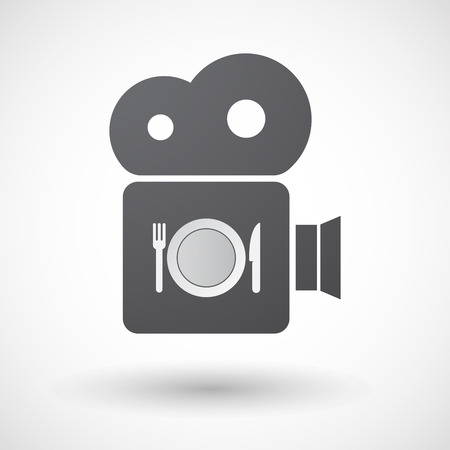 plate camera: Illustration of an isolated retro cinema camera icon with  a dish, knife and a fork icon Illustration