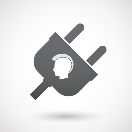 mohawk: Illustration of an isolated  male plug icon with  a male punk head silhouette