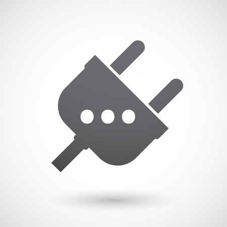 orthographic: Illustration of an isolated  male plug icon with  an ellipsis orthographic sign