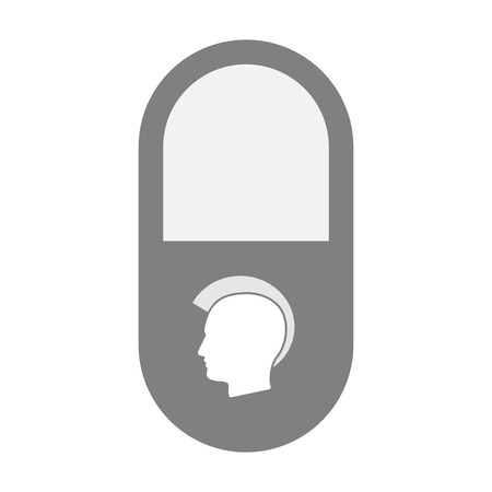 punk hair: Illustration of an isolated  pill icon with  a male punk head silhouette