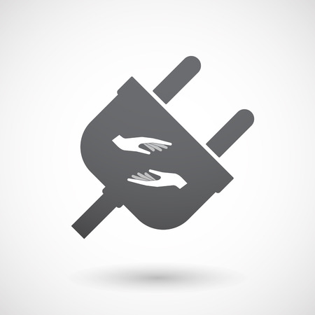 give and take: Illustration of an isolated  male plug icon with  two hands giving and receiving  or protecting