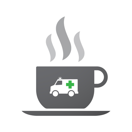 Illustration of an isolated coffee cup icon with  an ambulance icon