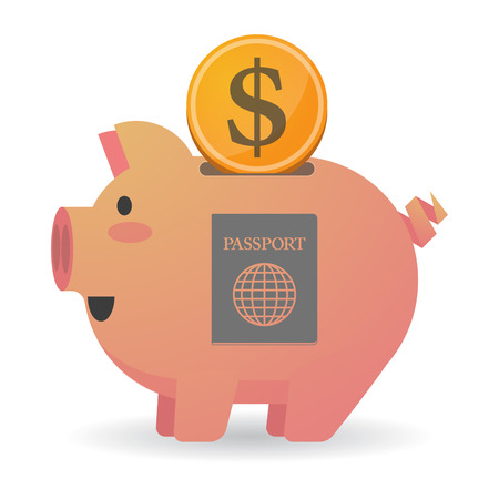 citizenship: Illustration of an isolated   piggy bank  with  a passport