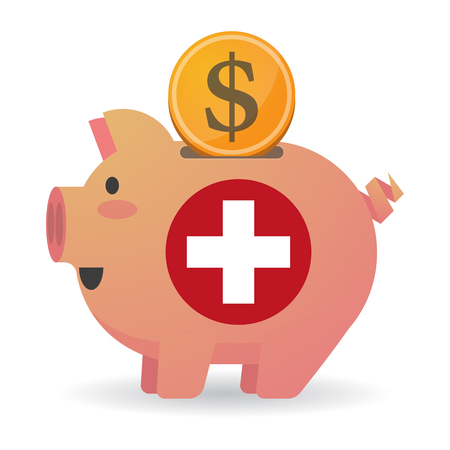 swiss flag: Illustration of an isolated   piggy bank icin with   the Swiss flag Illustration